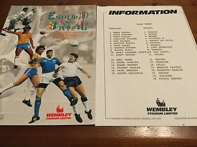 England v Brazil Friendly International inc Team Sheet 1992