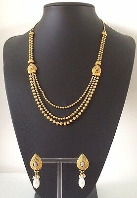 Bollywood Indian Imitation Jewellery/ Party Wear/ Small Gold Moti Bead Pearl Set