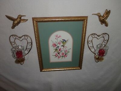4 Your Home Interiors '' Hummingbirds'' Picture  &  Sconces  9pc Gorgeous