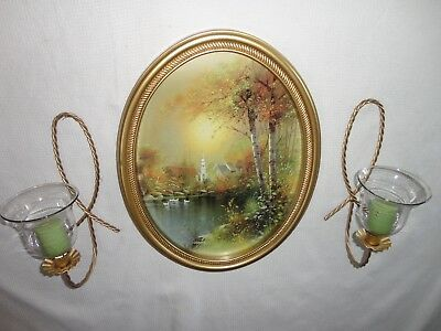 Home Interiors Oval ''Wooded Country Scene'' Picture  & Sconces  7pc Gorgeous