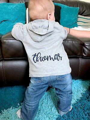Personalised Baby Toddler Boy Girl Fleece Hoodie Hooded Top Blue and Pink