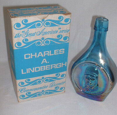 """""""Charles A. Lindbergh"""" Wheaton Glass Blue Iridescent Decanter With Box"""