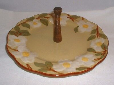 "Vintage Hand Painted Stangl White Dogwood 10"" Tidbit Tray With Wood Handle"