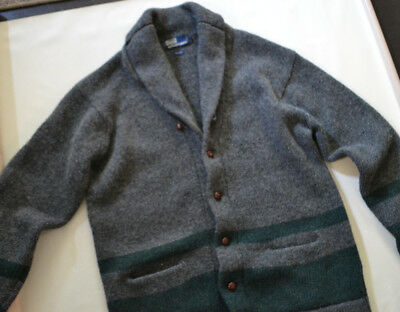 VTG POLO RALPH LAUREN SHAWL NECK CARDIGAN SWEATER Mens Large Heavyweight Wool
