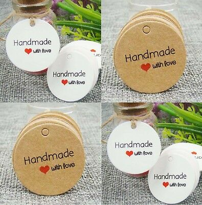 Craft Round Paper Tags Hand made with love Gift Food Jewellery Wedding Christmas