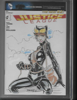 Catwoman sketch by Randy Kntz  9.8 CGC