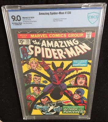 Amazing Spider-Man #135 1974 CBCS 9.0 VF/NM OW/W Pgs 2nd App Punisher Not CGC NR
