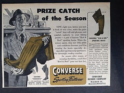 "Vintage 1947 Ad (Odl1)~Converse ""rod & Reel"" Sporting Boots. Malden, Mass."