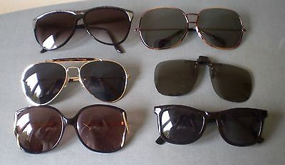 Lot of 6 Vintage Sunglasses 60s 70s 80s Groovy Oversized New Wave