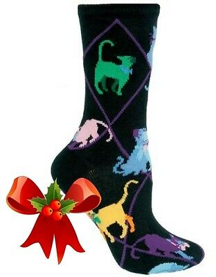 New! COLORFUL CATS Socks by Wheelhouse~USA~LARGE~Great Gift! Ships Free!