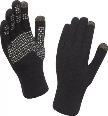 (Medium, Black/Silver) - Sealskinz Ultra Grip Touchscreen Glove. Free Delivery