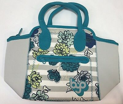BYO by Built NY Adela Neoprene Lunch Bag, (Grey Floral) New Model Design