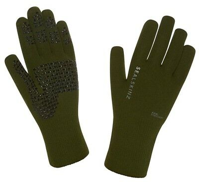(Medium, Olive) - SealSkinz Ultra Grip Hi Vis Gloves Outdoor. Huge Saving