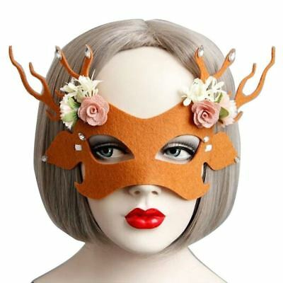 US Stock Halloween Masquerade Party Half Face Deer Mask Costume Prop Party Fancy