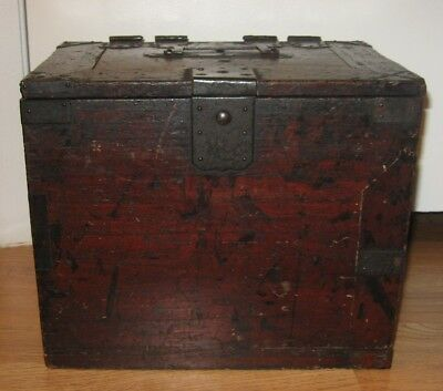 Antique Japanese Merchant Writing Box Calligraphy Tansu