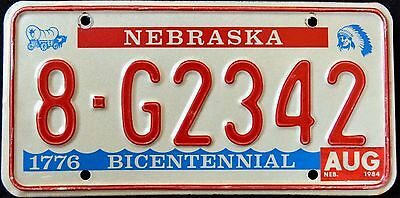 "NEBRASKA "" BICENTENNIAL - INDIAN "" 1984 NE Vintage Classic License Plate"
