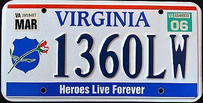 """VIRGINIA """" HEROES LIVE FOREVER - FALLEN OFFICERS """" VA Specialty License Plate"""
