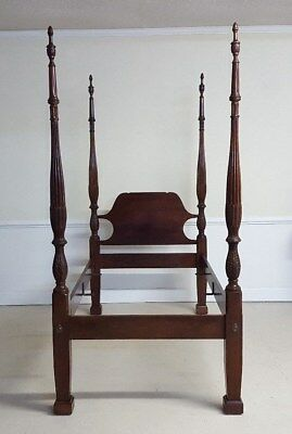 Craftique Twin Bed Wheat Carved Post Mahogany Handmade