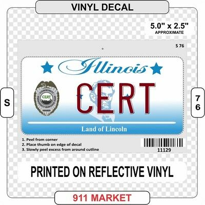 IL CERT License Plate Decal Reflective Illinois Community Emergency Response S76