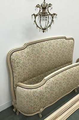 Vintage French Bed Louis XV Style Upholstered Corbeille Double Bed * j078a