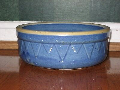 White Hall Stoneware Illinois Ruckel's Pottery BLUE SHALLOW Saw Tooth Crock