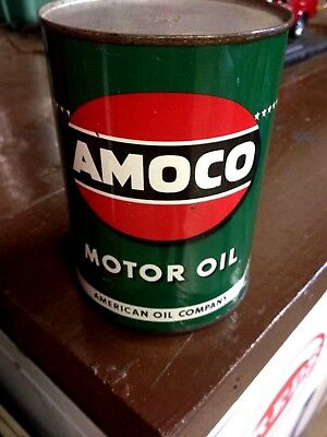 Nos Vintage Original Full Amoco Motor Oil One Quart Metal Can Nice Gas Dsiplay