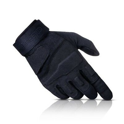 (All Black, Medium) - FREETOO Reinforced Tactical Gloves Mens Gloves Full