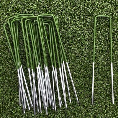 100 Half Green Artificial Grass Turf U Pins Metal Galvanised Pegs Staples Weed