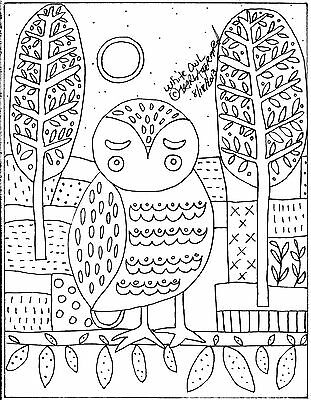 Rug Hook Crafts Paper Pattern White Owl FOLK ART ABSTRACT Primitive Karla Gerard