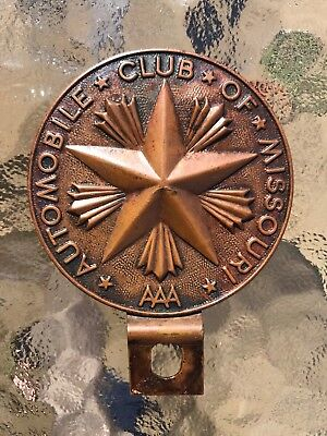 Antique 1910s MISSOURI AAA AUTO CLUB Metal Gas Oil Sign License Plate Topper