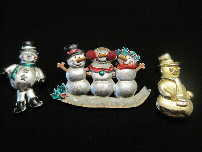 Lot of Three Snowmen Pins ~ Perfect for Christmas ~ 2 Signed