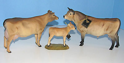 Vintage 3 Jersey Cow Calf Bull Figurines North Light England Dairy Cattle Statue