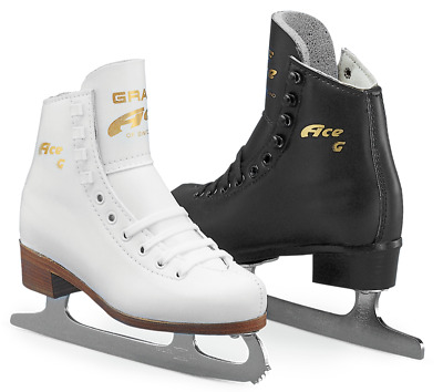 """Graf """"Ace"""" White Leather Boot complete with Blades for Ice/Figure Skating NEW"""