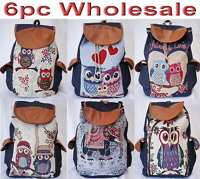 6pc Wholesale Large Women Canvas Owl Elephant Backpack Bag Lady Girl Handbag Mix