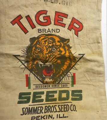 """Antique """"tiger Brand"""" Feed Sack, Sommer Bros. Pekin, Ill, Colorful Fearful Tiger"""