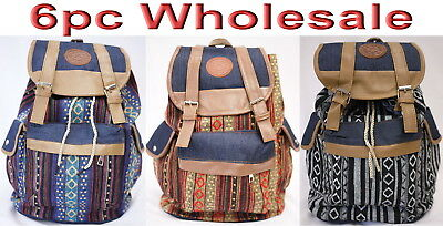 6pc Wholesale Large Women Canvas Backpack Bag Lady Girl Handbag Mixed