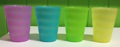 Tupperware Cups - Set of 4 (four) yellow, green, blue & pink   Tumblers   Ribbed