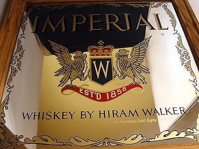 IMPERIAL WHISKEY by HIRAM WALKER - PUB/TAVERN MIRROR SIGN - SEE PHOTOS - I132