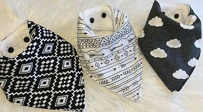 Baby boy bandana bib Black White Grey Aztec arrow clouds  by Tractors & Fairies