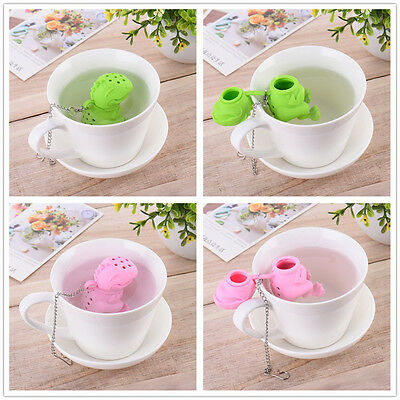 2 Color Dinosaur Tea Infuser Loose Leaf Strainer Herbal Silicone Filter Diffuser