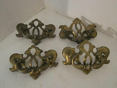 SET OF 4 Brass Victorian Art Nouveau Door Drawer Pull Handle Hardware Stamped