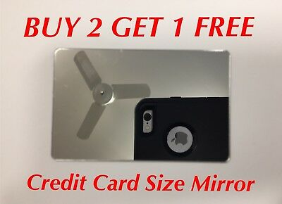 Credit Card Size Mirror - Compact Wallet Makeup Travel Pocket Purse - Adhesive