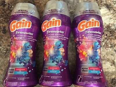 3 PACK LOT *GAIN  fireworks LaundrY Scent Beads Wildflower waterfAll 29.1 oz tot