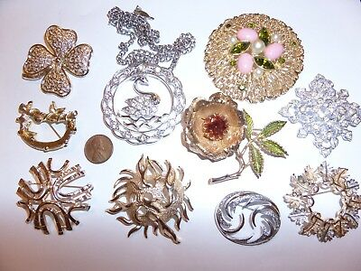 Vintage 10 Lot Sarah Coventry Lot 9 Brooches 1 Pendant Necklace Signed Was $60