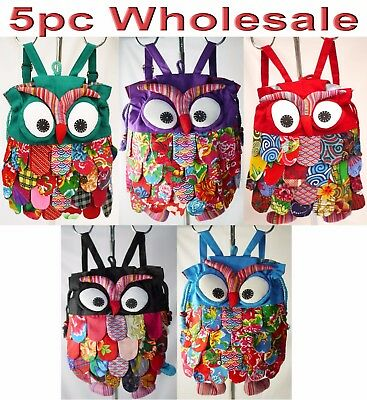 5pc Wholesale Handmade Owl Cotton Patchwork Backpack Bag Lady Girl Handbag Mixed