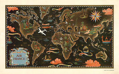 Air France-Reseau Aerien Mondial 1947 Vintage A1 High Quality Canvas  Print