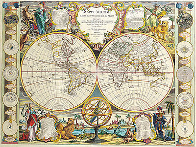 Double Hemisphere Map 1755 A2 High Quality Canvas Art Print