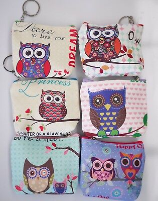 12pc Wholesale Bulk Lots Owl PU Coin Purse Bags Mixed
