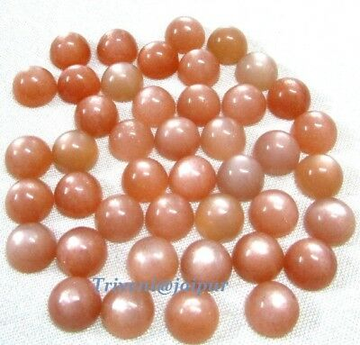 Super 25 Piece Natural Peach Moonstone 11x11 mm Round Cabochon Loose Gemstone