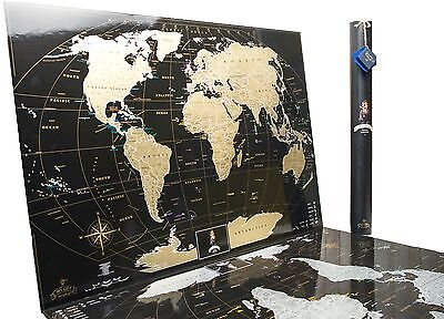 Premium Gift Gold Black World Scratch off Map,Personal travel map, Push pin map